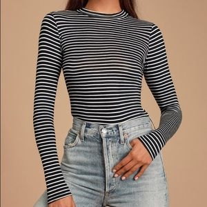 Lulus Anything is Posh-ible Black Striped Top